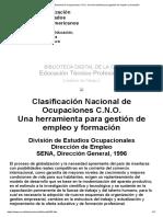 Clasificación Nacional de Ocupaciones C.N.O. Una Herramienta Para Gestión de Empleo y Formación