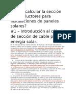 Cómo Calcular La Sección de Conductores Para Instalaciones de Paneles Solares