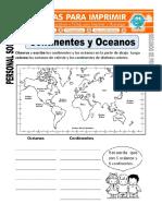 Ficha de Continentes y Oceanos Para Segundo de Primaria
