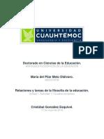 Ma. Del Pilar Melo Otálvaro- Actividad 1.1 Relaciones y Tareas de La Filosofía de La Educación