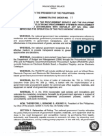 DIRECTING THE USE OF THE PROCUREMENT SERVICE AND THE PHILIPPINE GOVERNMENT ELECTRONIC PROCUREMENT SYSTEM IN PROCUREMENT ACTIVITIES IN ACCORDANCE WITH REPUBLIC ACT NO. 9184, AND IMPROVING THE OPERATION OF THE PROCUREMENT SERVICE
