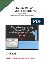 Pagsulat Ng Balitang Agham at Teknolohiya