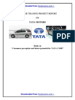 TATA Motors - MBA Summer Training Project Report - Consumer Perception and Analysis of Future..