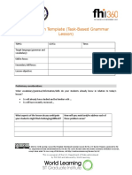 Lesson Plan Template (Task-Based Grammar Lesson)