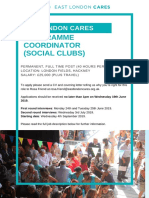 East London Cares Programme Coordinator (Social Clubs) job description