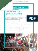 East London Cares Programme Coordinator (Social Clubs) job description