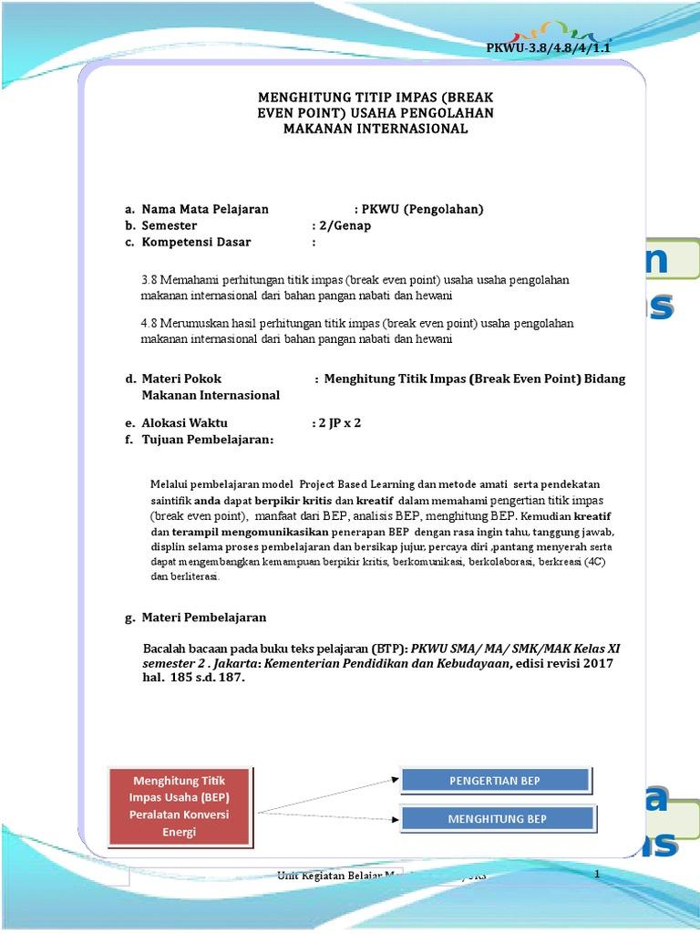 Pkwu Ukbm Xi Kd 3 8 Andri Astuti Pengolahan Siswa Docx