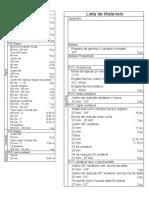Lista de Materiais Hidrossanitario