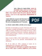 Resumen Biografía y Obras de Andrés Bello