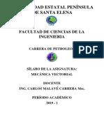Silabo Mecánica Vectorial 2019-1