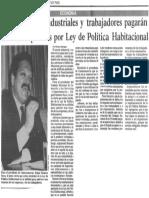 Edgard Romero Nava - Comerciantes Industriales y Trabajadores Pagaran Nuevos Impuestos Por Ley de Politica Habitacional - El Nuevo Pais 11.09.1989