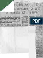 Edgard Romero Nava - Consecomercio Solicita Elevar a 240 Mil Bolivares Las Excepciones de Pago de Impuestos Sobre La Renta - La Religion 11.10.1989