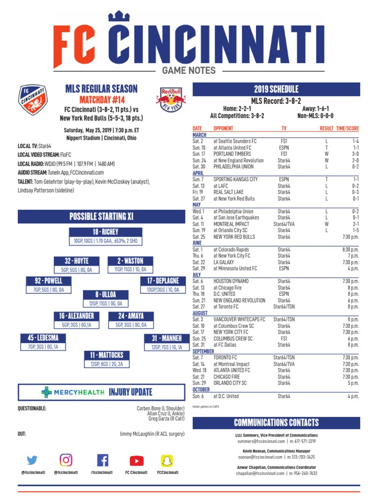 FC Cincinnati vs  New York Red Bulls | Major League Soccer