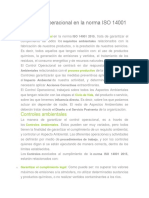 El Control Operacional en La Norma ISO 14001 2015