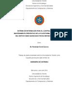 Tesis.sistema de Información Para El Control y Gestión Del Mantenimiento Preventivo de La Plataforma de Escritorio Del Edificio Sede Guaraguao Pdvsa Refinación Oriente