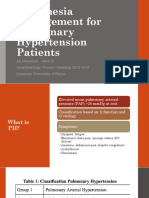 Anesthesia Management for Pulmonary Hypertension Patients