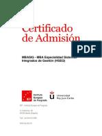 Jorge Alberto Tica Ovalles Certificado de Admisión