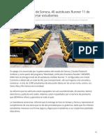 25-05-2019 Compró gobierno de Sonora 40 autobuses Runner 11 de DINA para transportar estudiantes-Automotores