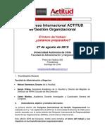 2a. Convocatoria Papers UA - II Congreso Internacional ACTITUD de Gestión Organizacional 2019 - Univ. Autónoma de Chile