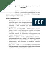 Funciones Del Ingeniero Inspector e Ingeniero Residente en Una Obra