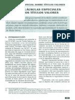 TITULOS VALORES - Cláusulas Especiales