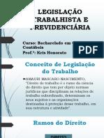 Aula 1. Legislação Trabalhista e Previdenciária