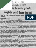 Edgard Romero Nava - Sobre Cartas de Credito Propuesta Del Sector Privado Aceptada Por El Banco Central - Diario El Siglo 20.10.1989