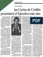 Edgard Romero Nava - Solucion a Las Cartas de Credito Presentara El Ejecutivo Este Mes - 14.09.1989
