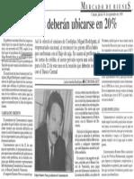 Edgard Romero Nava - Tasas de Interes Deberan Ubicarse en 20% - Mercado de Bienes 14.09.1989