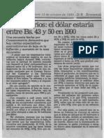 Empresarios El Dolar Estaria Entre Bs 43 y 50 en 1990 - El Nacional 12.10.1989