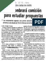 Sobre Cartas de Credito BCV Nombrara Comision Para Estudiar Propuestas - El Siglo 08.09.1989