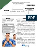 Instituto Aocp 2015 Ebserh Tecnico Em Analises Clinicas Hdt Uft Prova