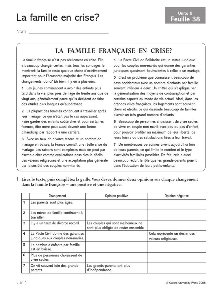 La Famille Française En Crise França Divórcio