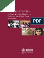 Adolescent Nutrition WHO