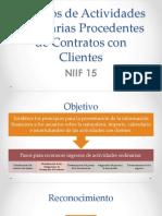 Ingresos de Actividades Ordinarias Procedentes de Contratos Con NIIF15