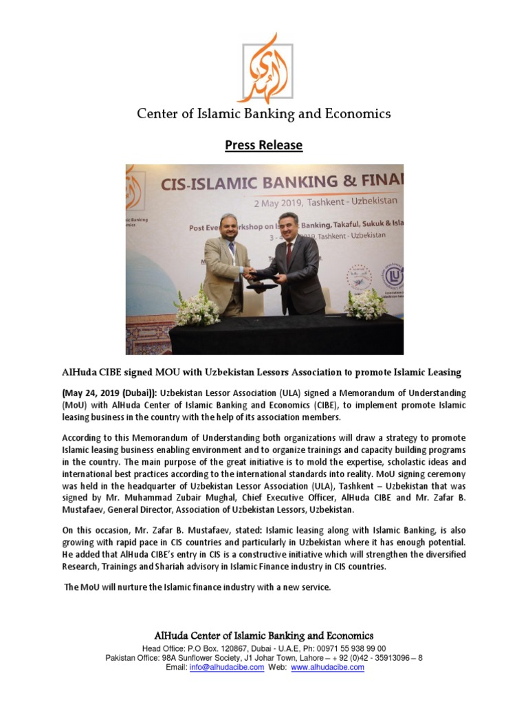 Press Release - AlHuda CIBE Signed MOU With Uzbekistan Lessors