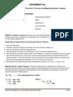 EED Lab Thevenin and Maximum Power Theorem