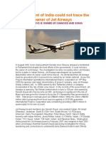 Govt of India Could Not Trace the Owner of Jet Airways