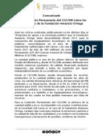 Comunicado de la Comisión Permanente del CGCOM sobre las donaciones de la Fundación Amancio Ortega