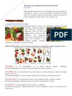Clasificación de Los Alimentos Por Su Función