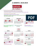 Calendario Aula Abierta 2018 19