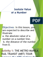 The Absolute Value of a Number