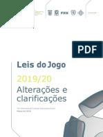 Alterações e Clarificações Às Leis Do Jogo 2019-20