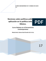 Nociones Sobre Políticas Públicas. Su Aplicación a La Política Exterior de México.