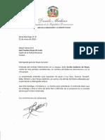 Carta de condolencias del presidente Danilo Medina a José Paulino Reyes de León por fallecimiento de su esposa, Cecilia Calderón de Reyes