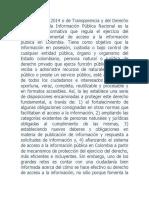 a Ley 1712 de 2014 o de Transparencia y del Derecho de Acceso a la Información Pública Nacional es la herramienta normativa que regula el ejercicio del derecho fundamental de acceso a la información pública en Colombia.docx