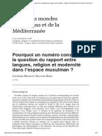 Pourquoi Un Numéro Consacré à La Question Du Rapport Entre Langues, Religion Et Modernité Dans l'Espace Musulman
