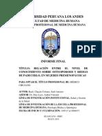 Universidad PeruanaRELACIÓN ENTRE EL NIVEL DE CONOCIMIENTO SOBRE OSTEOPOROSIS Y RIESGO DE PADECERLO, EN MUJERES PREMENOPÁUSICAS Los Andes 1
