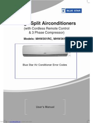 Blue Star Air Conditioner Manual and Error Codes PDF | Air