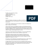 Letter to  Ombudsman & Police Integrity Commission